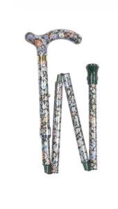 Foldbar stok med højdejustering og blomster